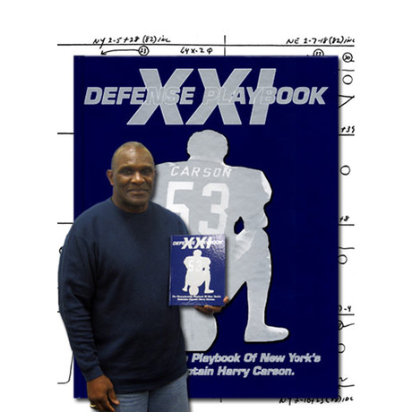 Harry Carson // New York Giants // Autographed Defense Playbook // Super Bowl XXI
