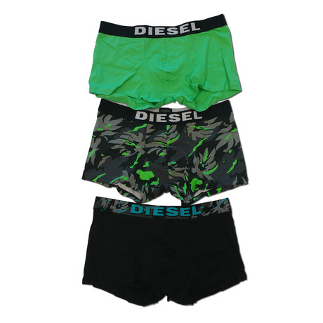 Shawn Stretch Boxer Trunk // Green + Gray Camo // Pack of 3 (XS)