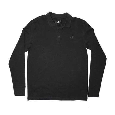 Solid Pique Long Sleeve Polo // Black (S)