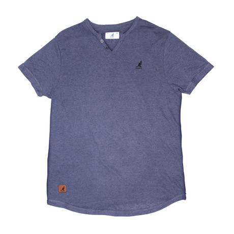 Skip Needle V Notch Short Sleeve Knit Top // Navy Beats (S)