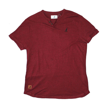 Skip Needle V Notch Short Sleeve Knit Top // Black Cherry (S)