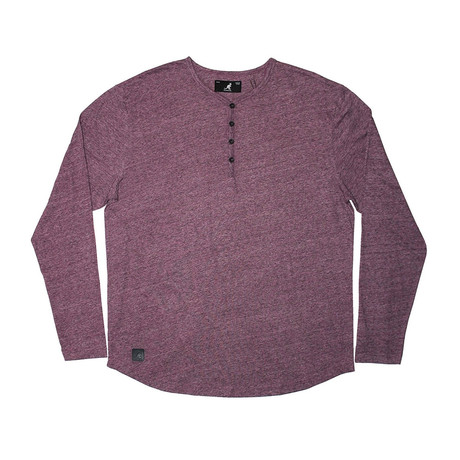 Streaky Yarn Long Sleeve Henley Knit Top // Purple (S)