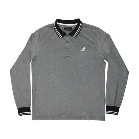 2-Tone Pique Long Sleeve Polo Knit Top // Black (S)