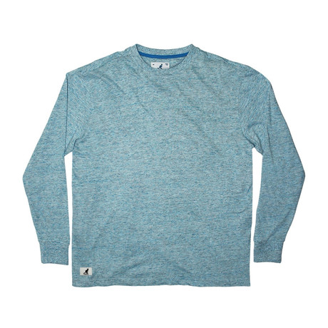 Linen Effect Long Sleeve T-Shirt // Sea Blue (S)