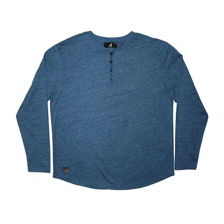 Streaky Yarn Long Sleeve Henley Knit Top // Navy (S)