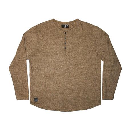 Streaky Yarn Long Sleeve Henley Knit Top // Golden (S)