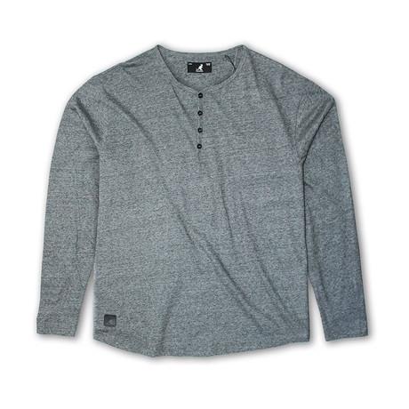 Streaky Yarn Long Sleeve Henley Knit Top // Black (S)
