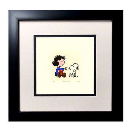 Lucy & Snoopy // Cookie // Hand Painted Etching (Unframed)