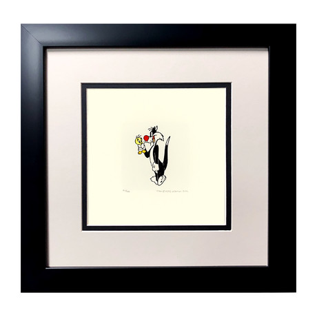 Sylvester & Tweety // Hand Painted Etching (Unframed)