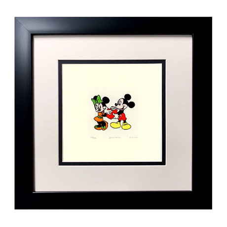 Mickey & Minnie // Hand Painted Etching (Unframed)