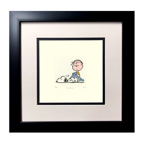 Linus & Snoopy // Hand Painted Etching (Unframed)