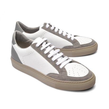 Two-Tone Leather Fashion Sneaker // White + Gray (Euro: 39)