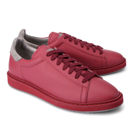Two-Tone Leather Fashion Sneaker // Red + Gray (Euro: 39)