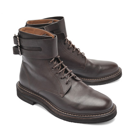 Leather Buckle Boot // Brown (Euro: 39)