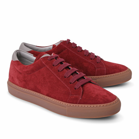 Two-Tone Suede Fashion Sneaker // Red + Gray (Euro: 39)
