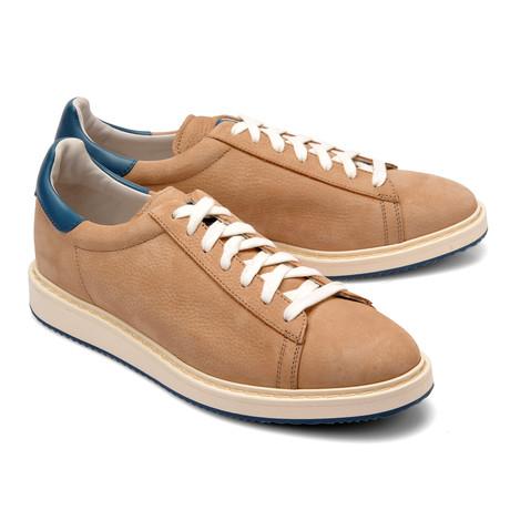 Two-Tone Leather Fashion Sneaker // Tan + Blue (Euro: 39)