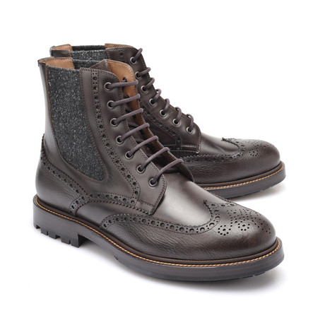 Two-Tone Brogue Style Western Boots // Brown + Gray (Euro: 39)