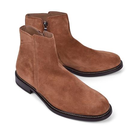 Suede Zip Up Chelsea Boot // Light Brown (Euro: 39)