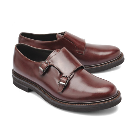 Double Buckle Monk Shoe // Brown (Euro: 39)