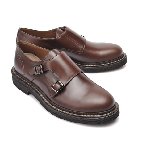Leather Double Strap Monk Shoe // Brown (Euro: 39)
