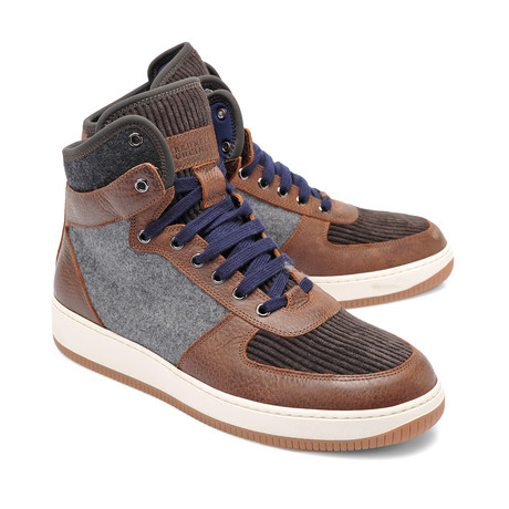 Two-Tone Leather High Top Hiking Boot // Brown + Gray (Euro: 39)