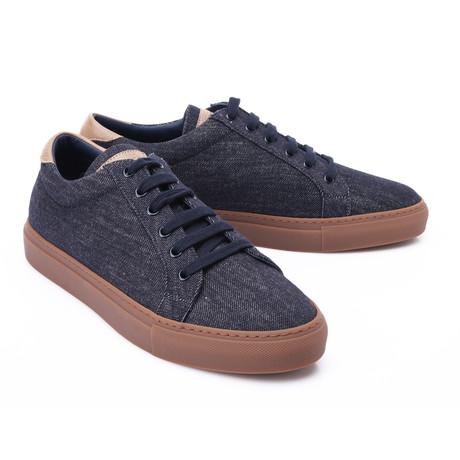 Two-Tone Leather Fashion Sneaker // Denim + Tan (Euro: 39)