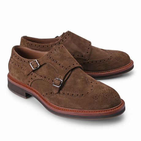 Suede Double Strap Monk Shoe // Brown (Euro: 39)