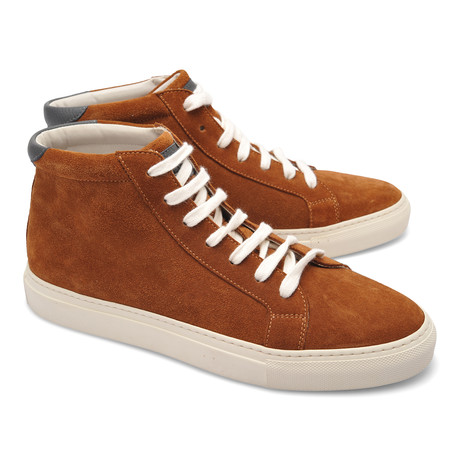 Suede High Top Fashion Sneaker // Cognac (Euro: 39)