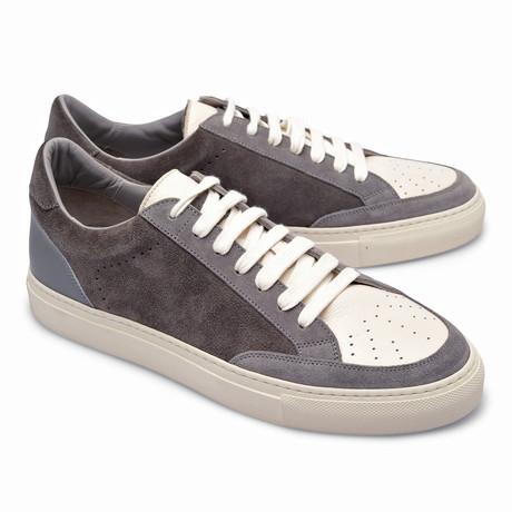 Two-Tone Leather Fashion Sneaker // Gray + White (Euro: 39)