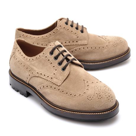 Suede Brogue Derby Shoe // Beige (Euro: 39)
