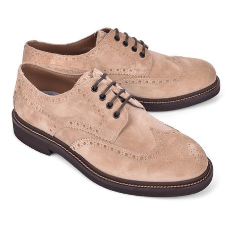 Suede Brogue Shoe // Beige (Euro: 39)