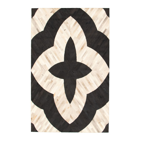 Cowhide Patchwork // Medallion Cream // 5'W x 8'L