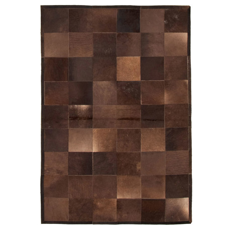"Cowhide Patchwork // Dark Brown // 4'1""W x 6'1""L"