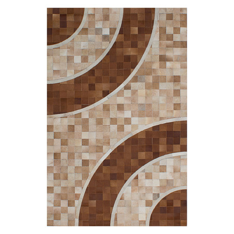 "Cowhide Patchwork // Beige + Brown // 5'W x 7'11""L"