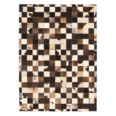 "Cowhide Patchwork // Cream + Dark Brown // 4'8""W x 6'8""L"