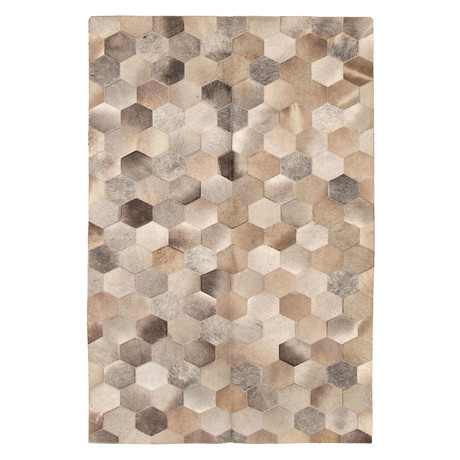 "Cowhide Patchwork // Cream // 6'1""W x 9'1""L"