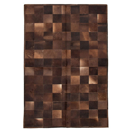 "Cowhide Patchwork // Dark Brown // 6'1""W x 9'1""L"