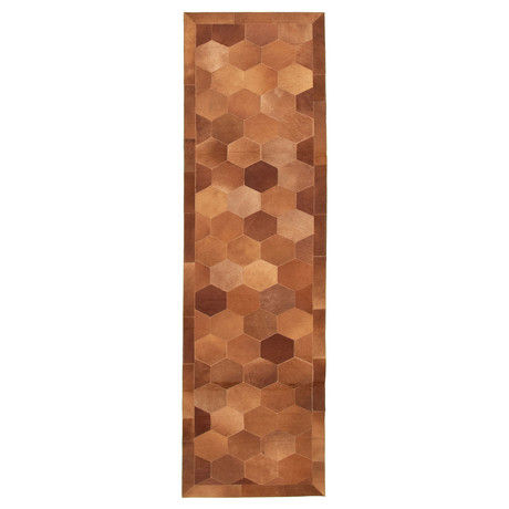 "Cowhide Patchwork // Brown // 2'9""W x 9'9""L"