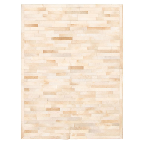 Cowhide Patchwork // Bricks Cream // 5'W x 7'L
