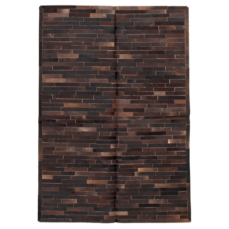 Cowhide Patchwork // Bricks Dark Brown // 6'W x 9'L