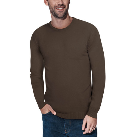 Slim Crew Neck Sweater // Dark Brown (S)