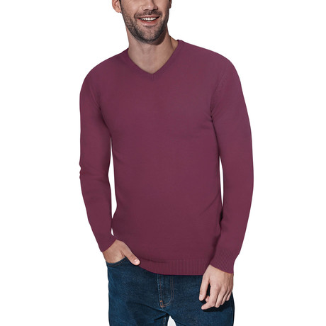 Slim V-Neck Sweater // Plum (S)