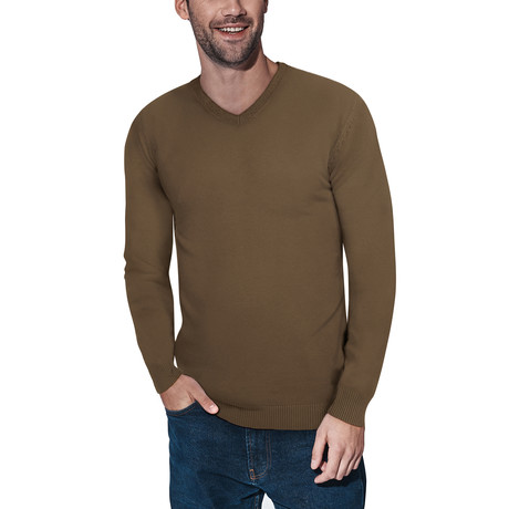 Slim V-Neck Sweater // British Khaki (S)