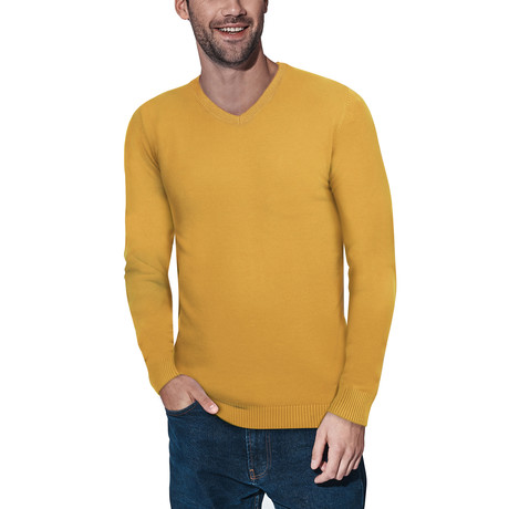 Slim V-Neck Sweater // Mustard (S)