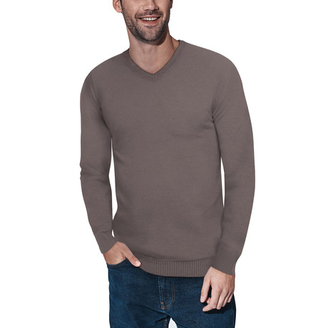 Slim V-Neck Sweater // Concrete (S)