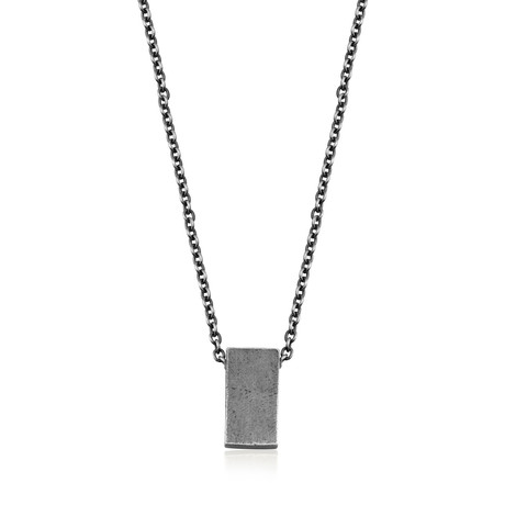 "Minimal Silver Pendant Necklace (Length: 24"")"