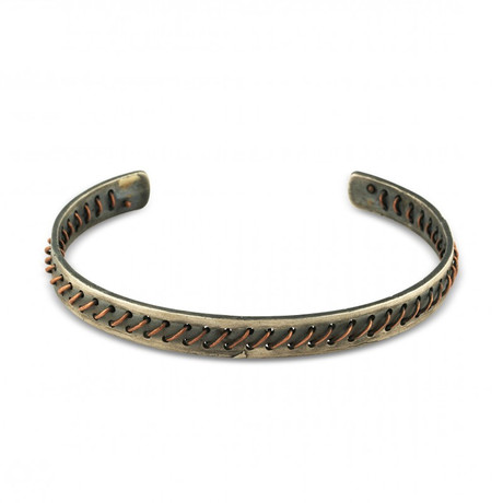 "Copper Stich Cuff Bracelet (Small: (2.1""- 2.3"" Ø))"
