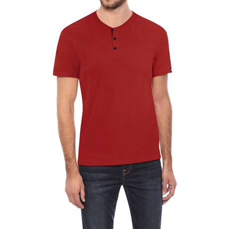 Super Soft Stretch Henley // Red (S)