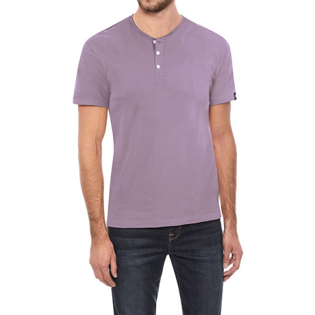 Super Soft Stretch Henley // Dusty Lavender (S)
