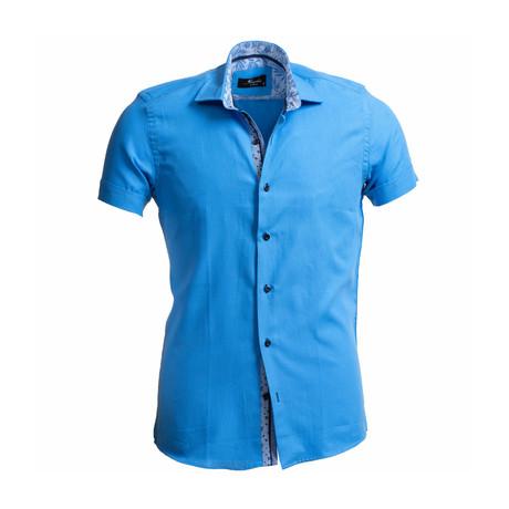 Solid Short Sleeve Button Down Shirt + Pattern Collar // Blue (S)
